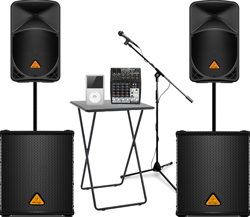 2000 Watt System For A Nice Full Sound Speakers Subs Table Mixer Mic