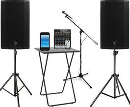 PA System 2 500 Watt Powered Speakers Table Mixer Mic Stands All Cables Connect Your IPod Phone Or LapTop 100